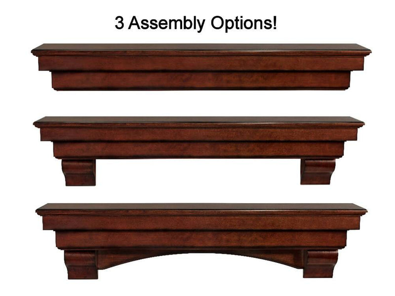 Pearl Mantels Auburn Wood Fireplace Mantel Shelf in Cherry Distressed Finish installation options