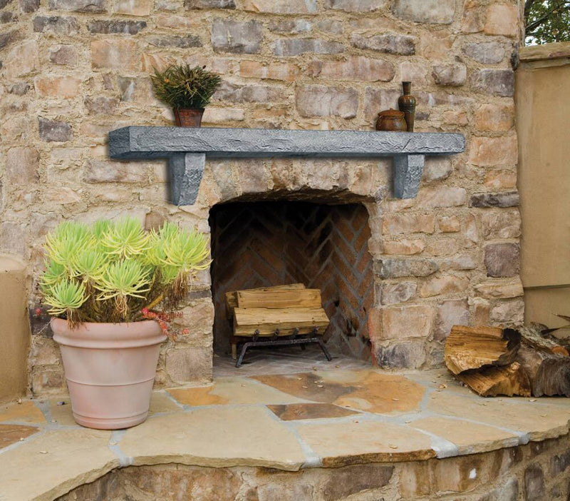 Pearl Mantels Rustic Cast Stone Fireplace Mantel Shelf in Smoke Finish