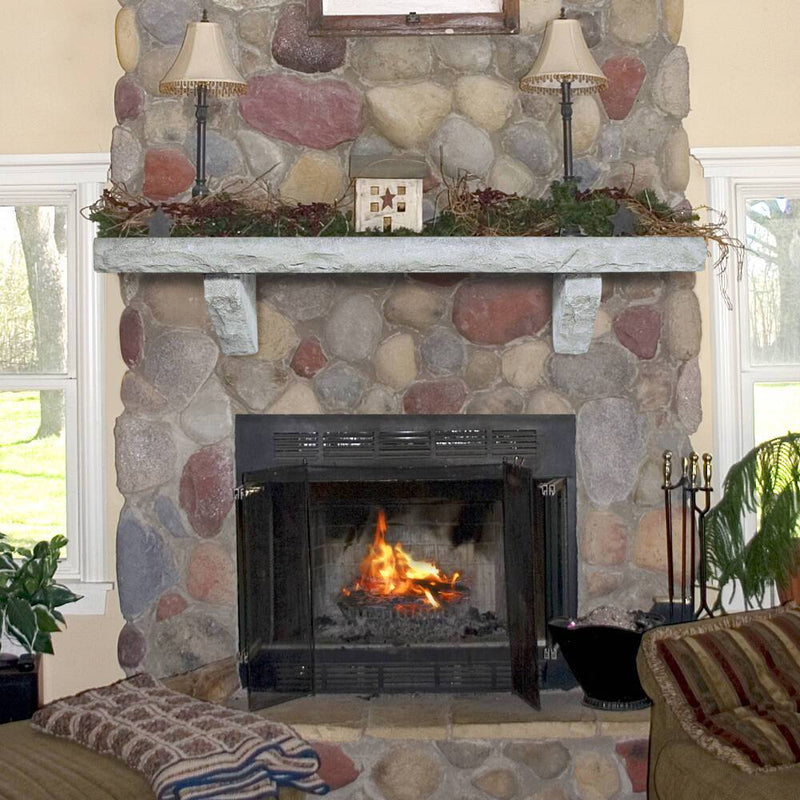 Pearl Mantels Rustic Cast Stone Fireplace Mantel Shelf in Natural Finish