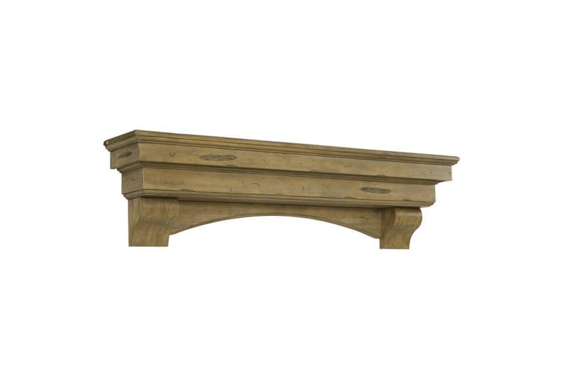 Pearl Mantels Celeste Wood Fireplace Mantle Shelf in Dune Distressed Finish angle