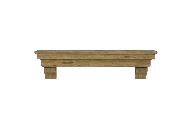 Pearl Mantels Celeste Wood Fireplace Mantle Shelf in Dune Distressed Finish corbels