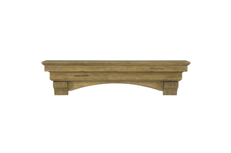 Pearl Mantels Celeste Wood Fireplace Mantle Shelf in Dune Distressed Finish corbels and arch