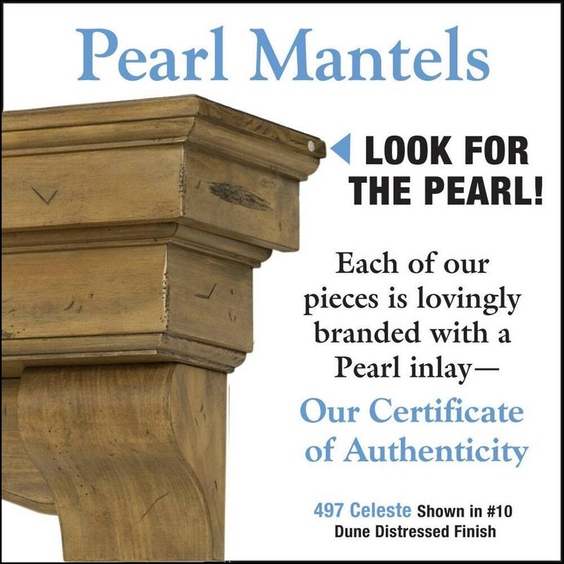 Pearl Mantels Celeste Wood Fireplace Mantle Shelf in Dune Distressed Finish detail