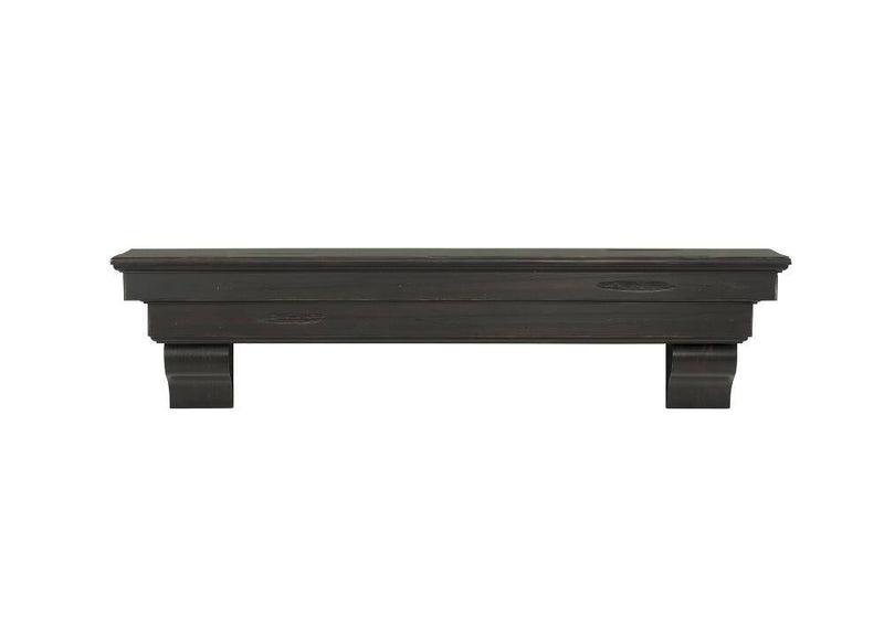 Pearl Mantels Celeste Wood Fireplace Mantle Shelf in Espresso Distressed Finish corbels