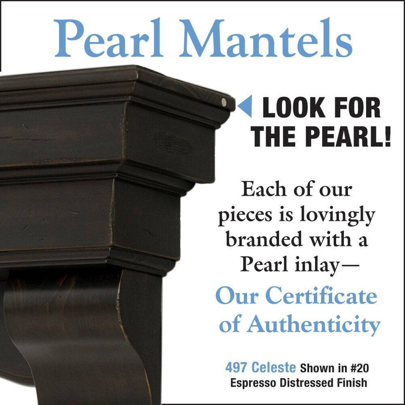 Pearl Mantels Celeste Wood Fireplace Mantle Shelf in Espresso Distressed Finish detail