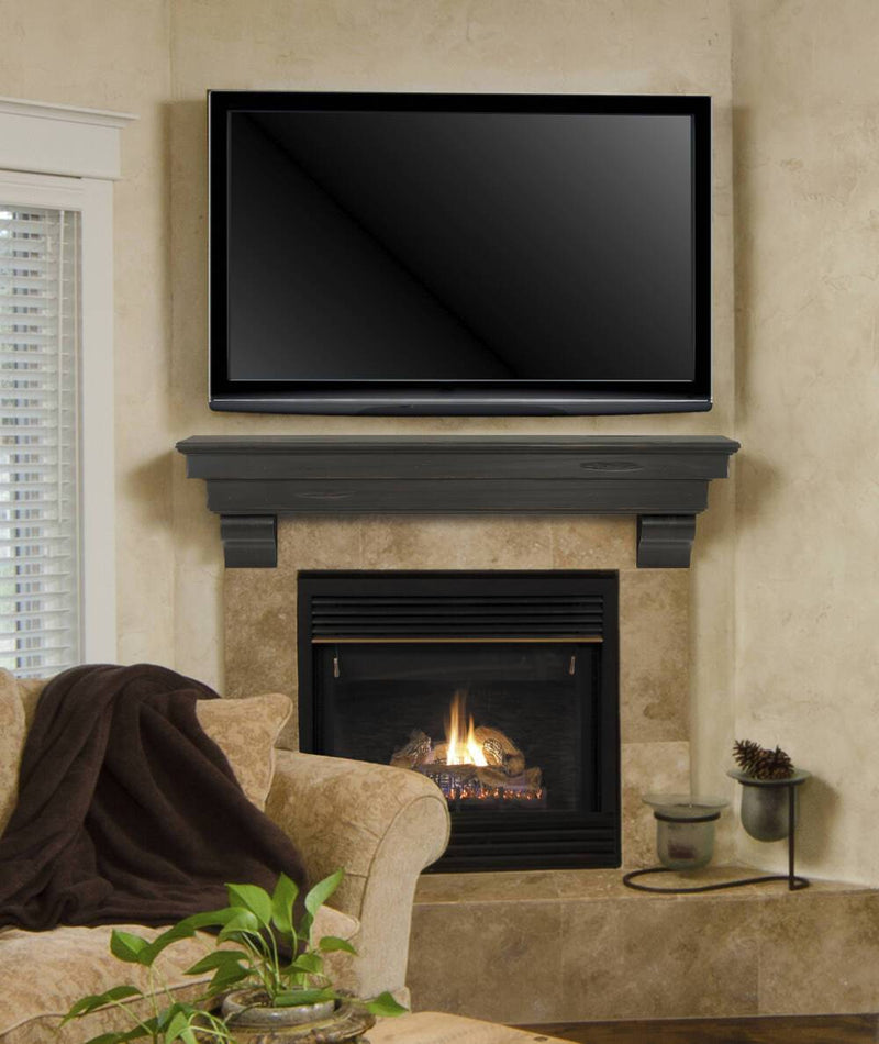 Pearl Mantels Celeste Wood Fireplace Mantle Shelf in Espresso Distressed Finish over TV