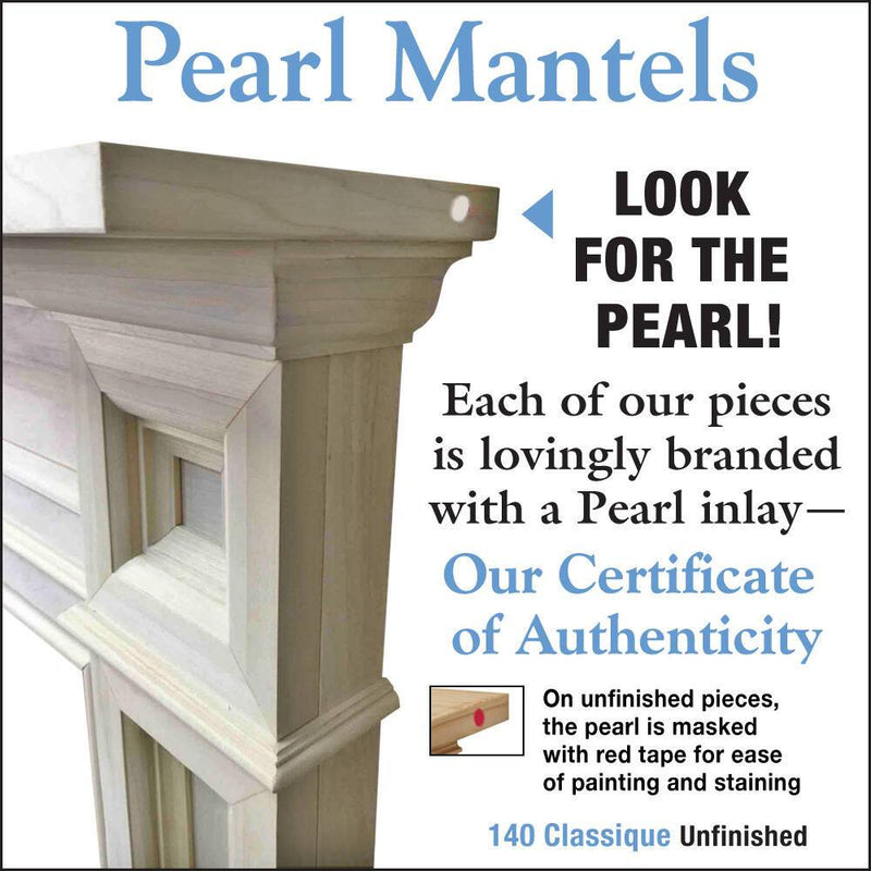 Pearl Mantels Classique Wood Fireplace Mantel Surround Unfinished detail