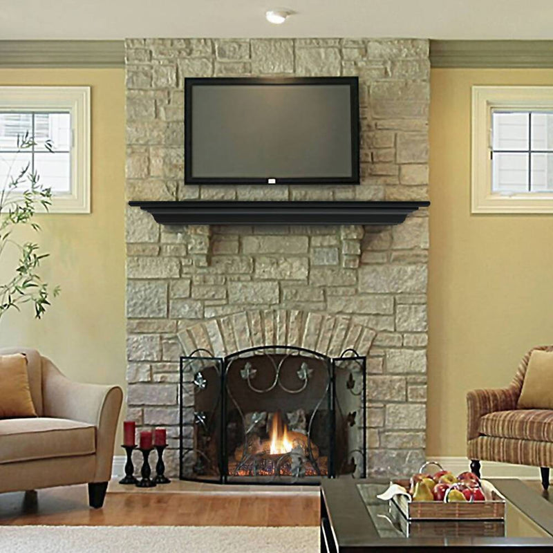 Pearl Mantels Crestwood Fireplace Mantel Shelf in Black Paint above TV