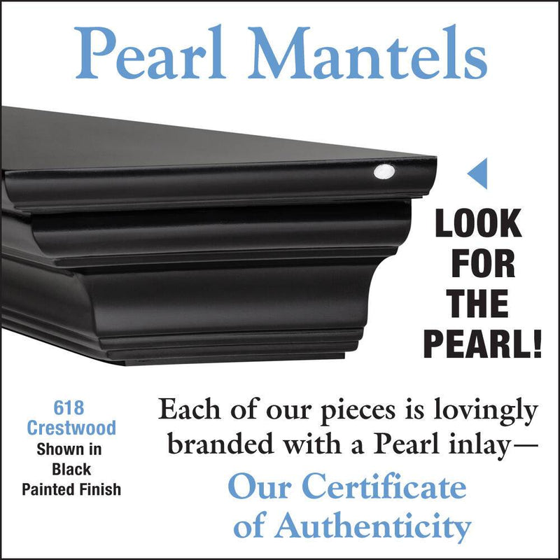 Pearl Mantels Crestwood Fireplace Mantel Shelf in Black Paint detail