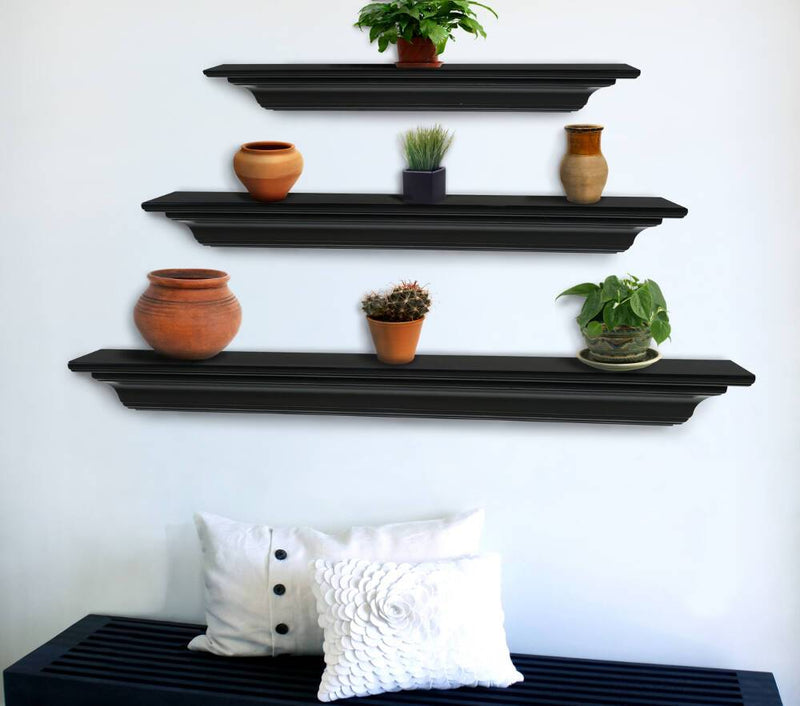 Pearl Mantels Crestwood Fireplace Mantel Shelf in Black Paint floating