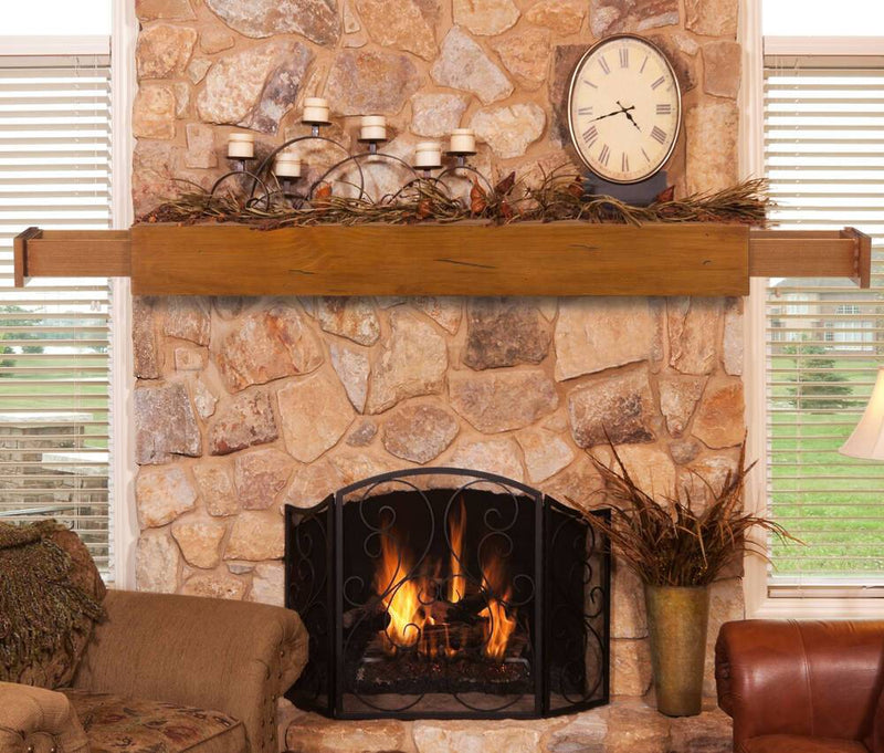 Pearl Mantels Dakota Wood Fireplace Mantel Shelf in Medium Rustic Distressed Finish