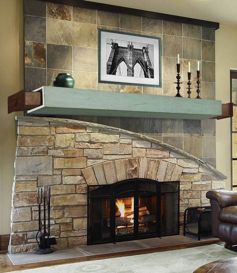 Pearl Mantels Dakota Wood Fireplace Mantel Shelf in Sage Distressed Finish open