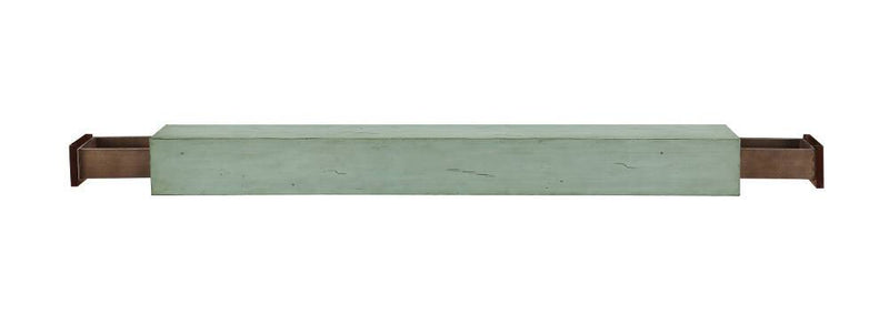 Pearl Mantels Dakota Wood Fireplace Mantel Shelf in Sage Distressed Finish open 2