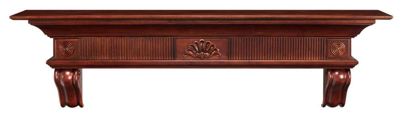 Pearl Mantels Devonshire Wood Fireplace Mantel Shelf in Cherry Distressed Finish corbels