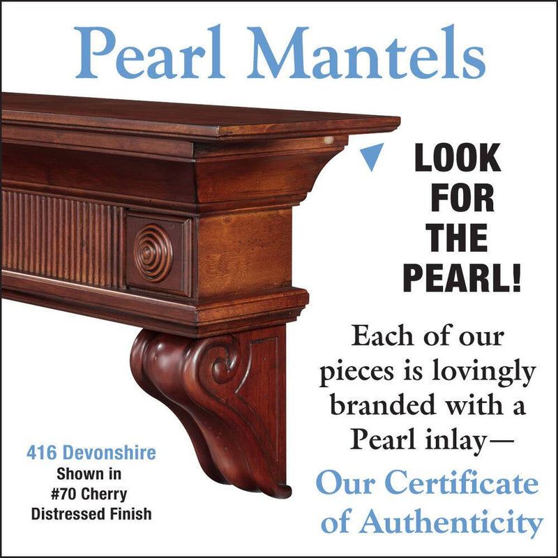 Pearl Mantels Devonshire Wood Fireplace Mantel Shelf in Cherry Distressed Finish detail