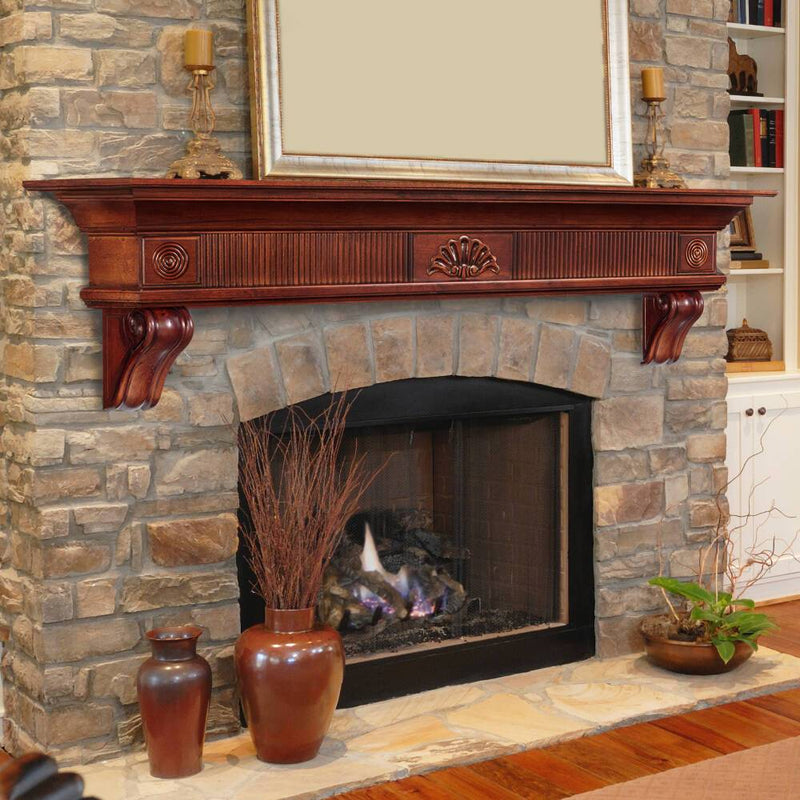 Pearl Mantels Devonshire Wood Fireplace Mantel Shelf in Cherry Distressed Finish