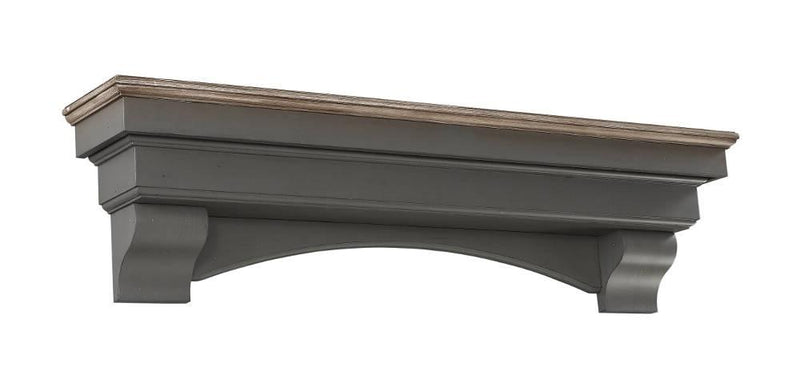 Pearl Mantels Hadley Wood Fireplace Mantel Shelf in Cottage Distressed Finish arch and corbels
