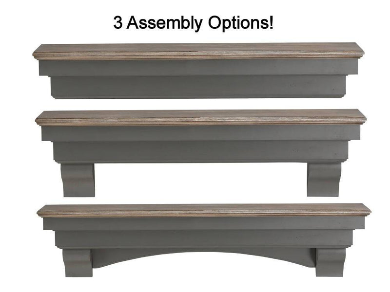 Pearl Mantels Hadley Wood Fireplace Mantel Shelf in Cottage Distressed Finish installation options