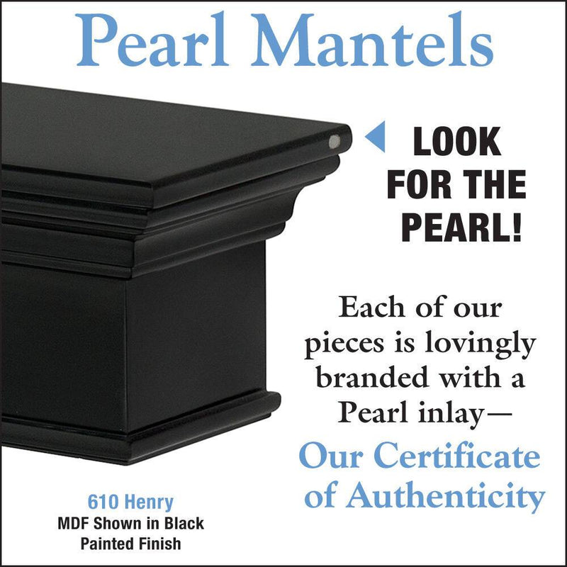 Pearl Mantels Henry Wood Fireplace Mantel Shelf in Black Paint detail