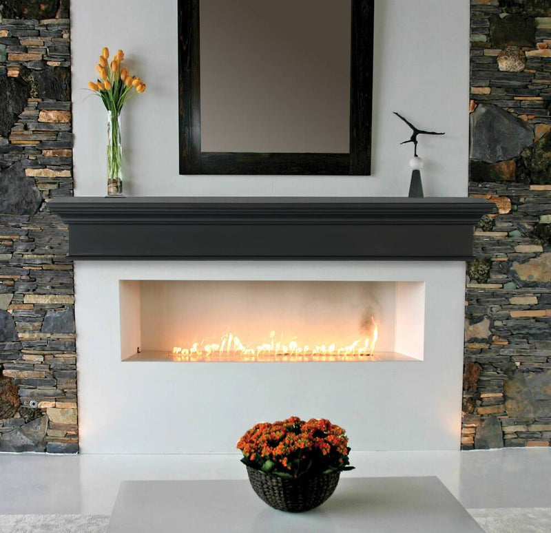Pearl Mantels Henry Wood Fireplace Mantel Shelf in Black Paint