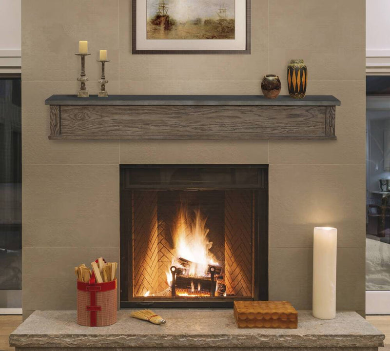 Pearl Mantels Park West Wood Fireplace Mantel Shelf in River Distressed Finish closed