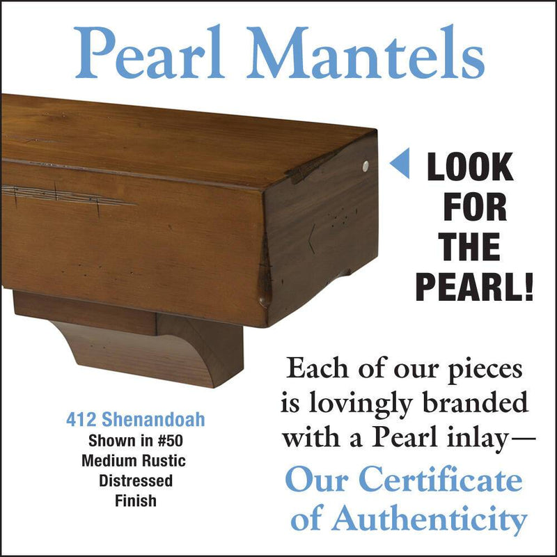 Pearl Mantels Shenandoah Rustic Wood Fireplace Mantel Shelf in Medium Distressed Finish detail