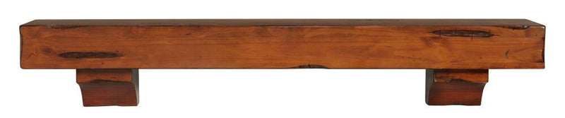 Pearl Mantels Shenandoah Rustic Wood Fireplace Mantel Shelf in Medium Distressed Finish with corbels