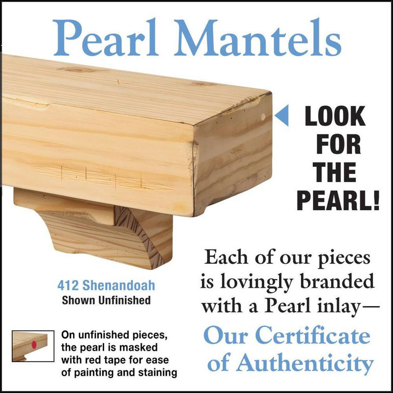 Pearl Mantels Shenandoah Rustic Wood Fireplace Mantel Shelf Unfinished detail