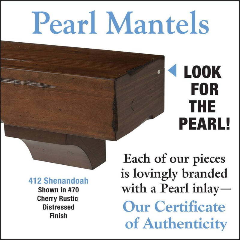Pearl Mantels Shenandoah Rustic Wood Fireplace Mantel Shelf in Cherry Distressed Finish detail