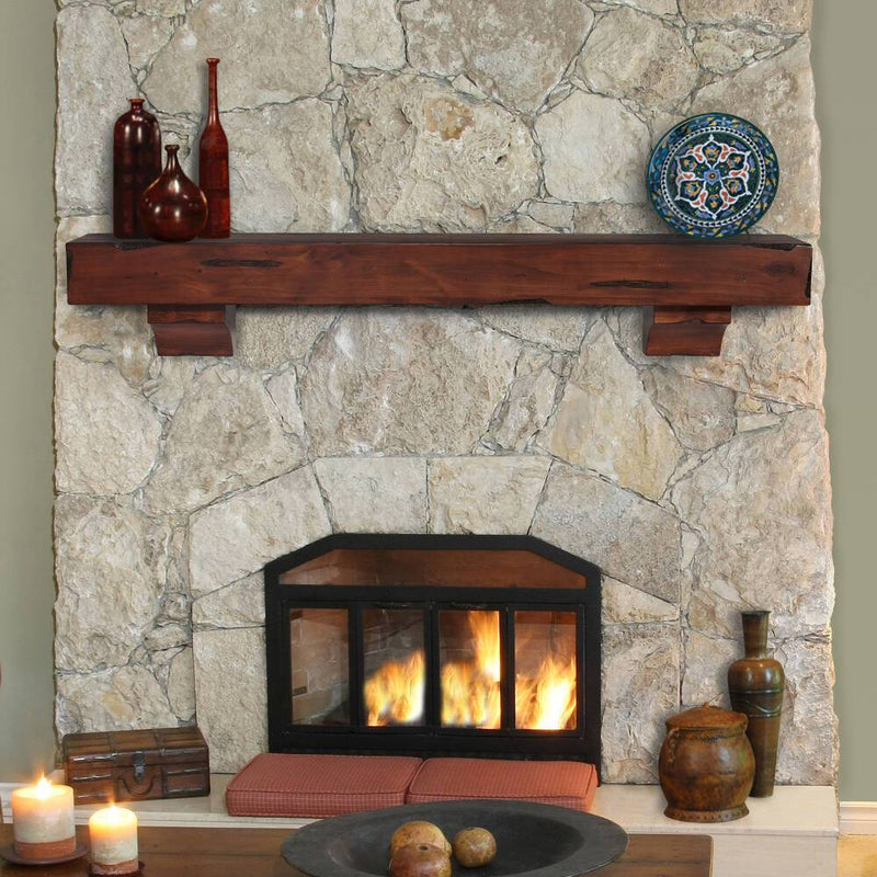 Pearl Mantels Shenandoah Rustic Wood Fireplace Mantel Shelf in Cherry Distressed Finish
