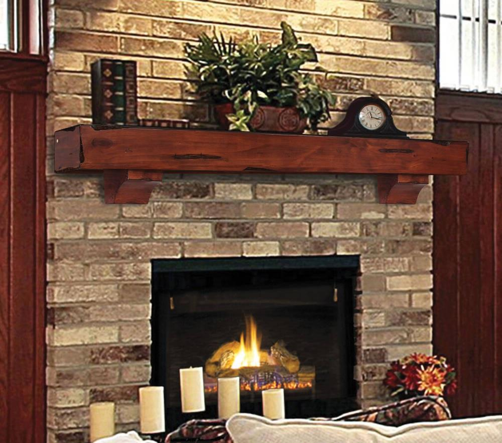 Pearl Mantels Shenandoah Rustic Wood Fireplace Mantel Shelf