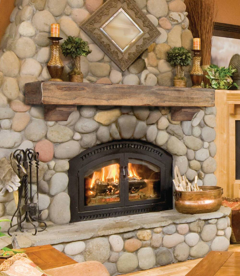 Pearl Mantels Shenandoah Rustic Wood Fireplace Mantel Shelf in Dune Distressed Finish corbels