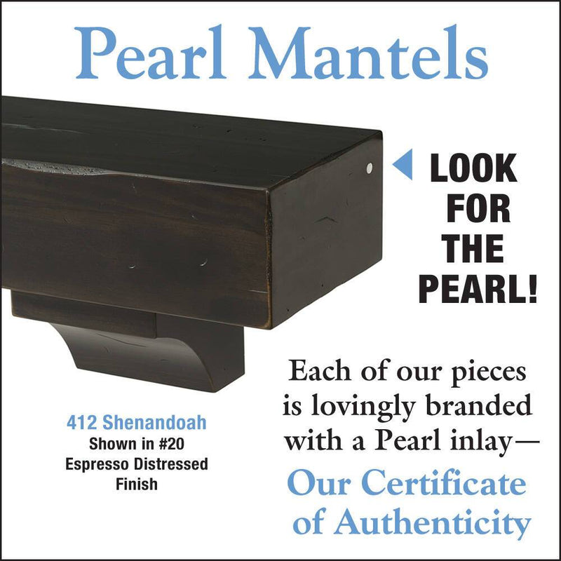 Pearl Mantels Shenandoah Rustic Wood Fireplace Mantel Shelf in Espresso Finish detail
