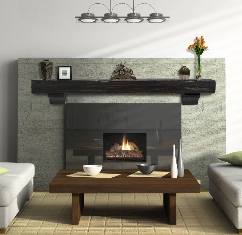 Pearl Mantels Shenandoah Rustic Wood Fireplace Mantel Shelf in Espresso Finish corbels