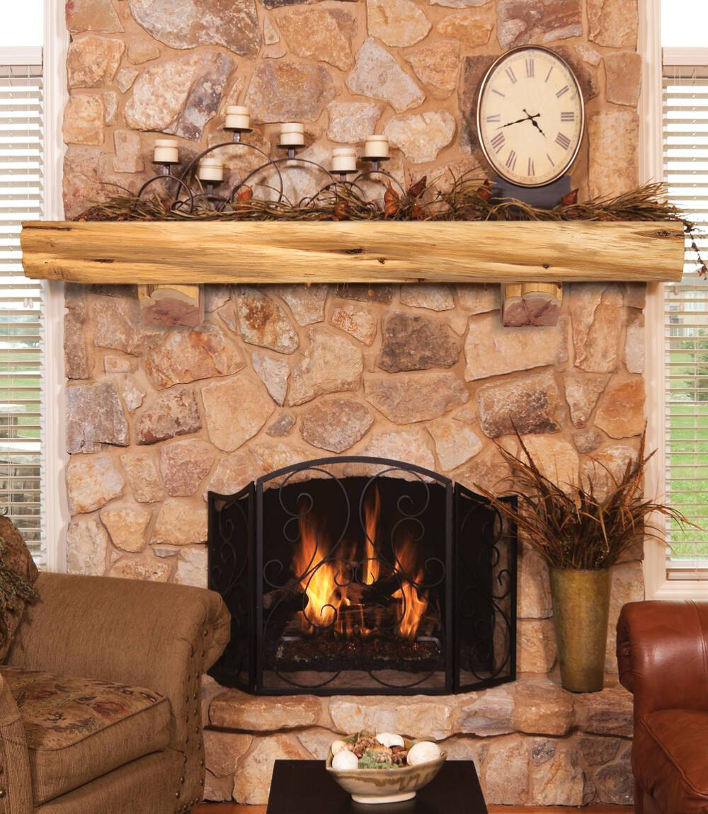 Pearl Mantels Solid Cedar Log Rustic Wood Fireplace Mantel