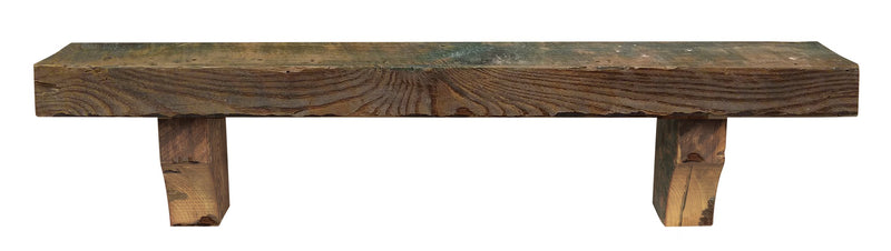 Pearl Mantels Solid Heart Pine Reclaimed Rustic Wood Fireplace Mantel Shelf in Whiskey Finish