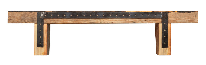 Pearl Mantels Solid Heart Pine Reclaimed Rustic Wood Fireplace Mantel Shelf in Whiskey Finish back