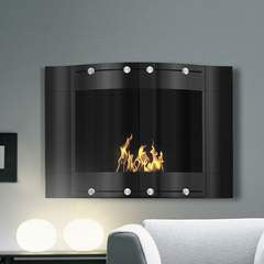 "Pureflame 26"" Wall-Mount Bio-Ethanol Fireplace Wave Stainless Steel"