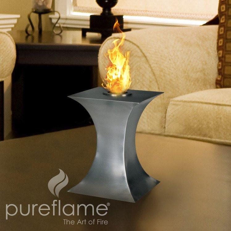 "Pureflame 7"" Table-Top Bio-Ethanol Fireplace Concave Fire"
