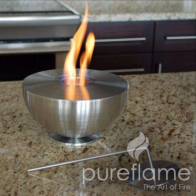 "Pureflame 7"" Table-Top Bio-Ethanol Fireplace Spherical Fire"