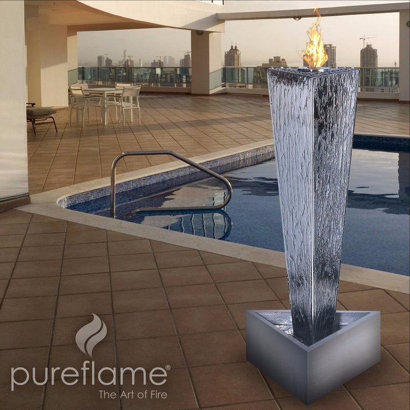 "Pureflame 23"" Free-Standing Bio-Ethanol Outdoor Fireplace Tower of Fire"