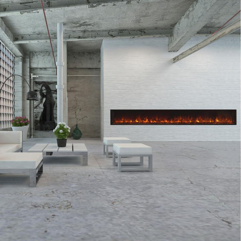 Modern Flames Landscape FullView 120 inch Built In Recessed Flush Mount Electric Fireplace Living