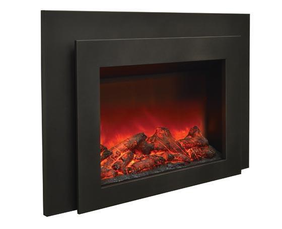 Sierra Flame Flush Mount 34 inch Electric Fireplace Insert in Black Steel