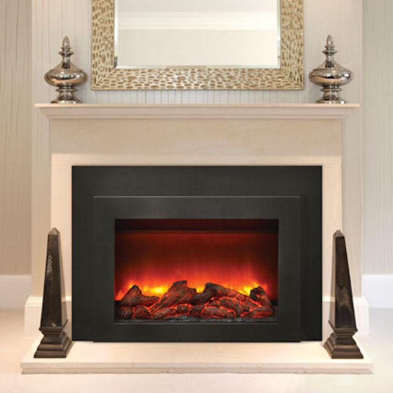 Sierra Flame Flush Mount 30 inch Electric Fireplace Insert in Black Steel