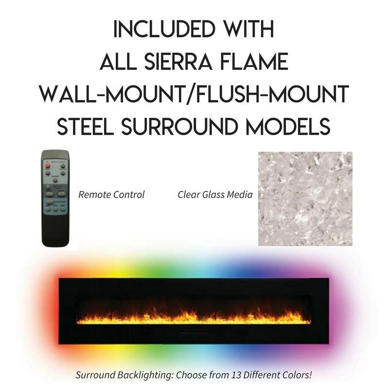 Sierra Flame Wall Mount Flush 72 inch Electric Fireplace Accessories