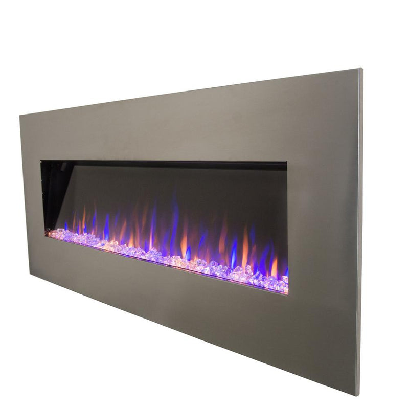 Touchstone AudioFlare Wall Mount 50 inch Electric Fireplace Stainless angle