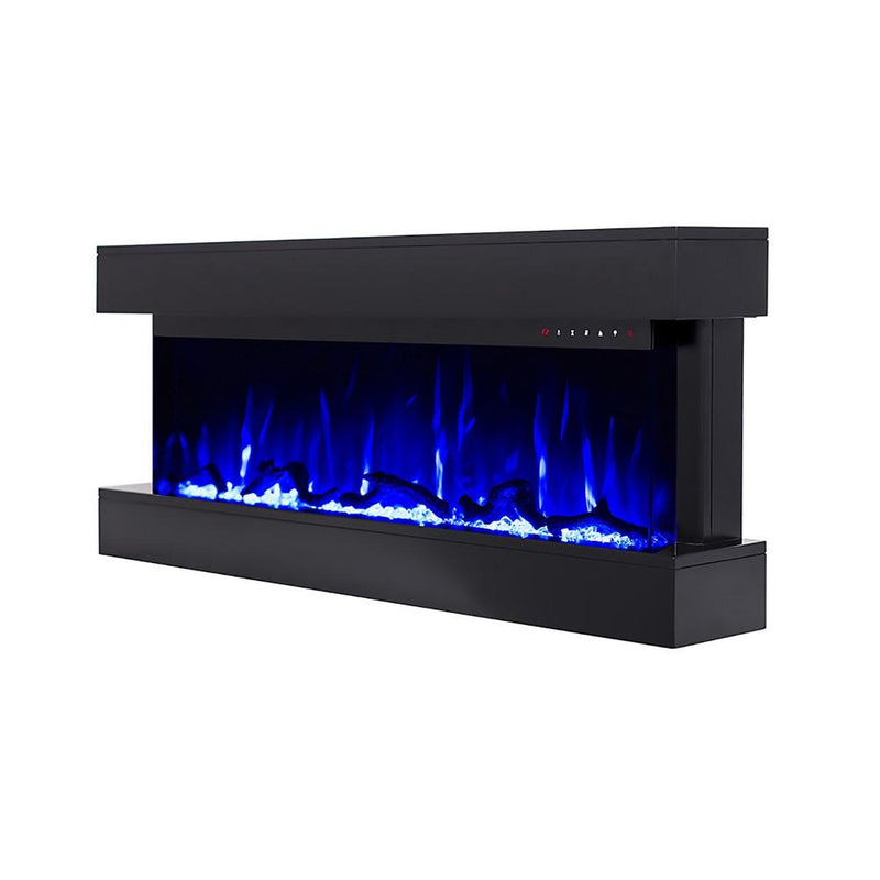 Touchstone Chesmont Wall Mount 50 inch Electric Fireplace in Black contemporary blue flame