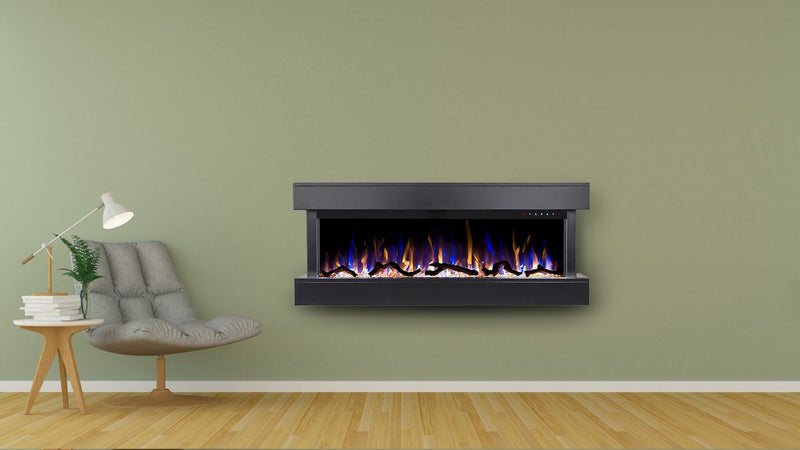 Touchstone Chesmont Wall Mount 50 inch Electric Fireplace in Black