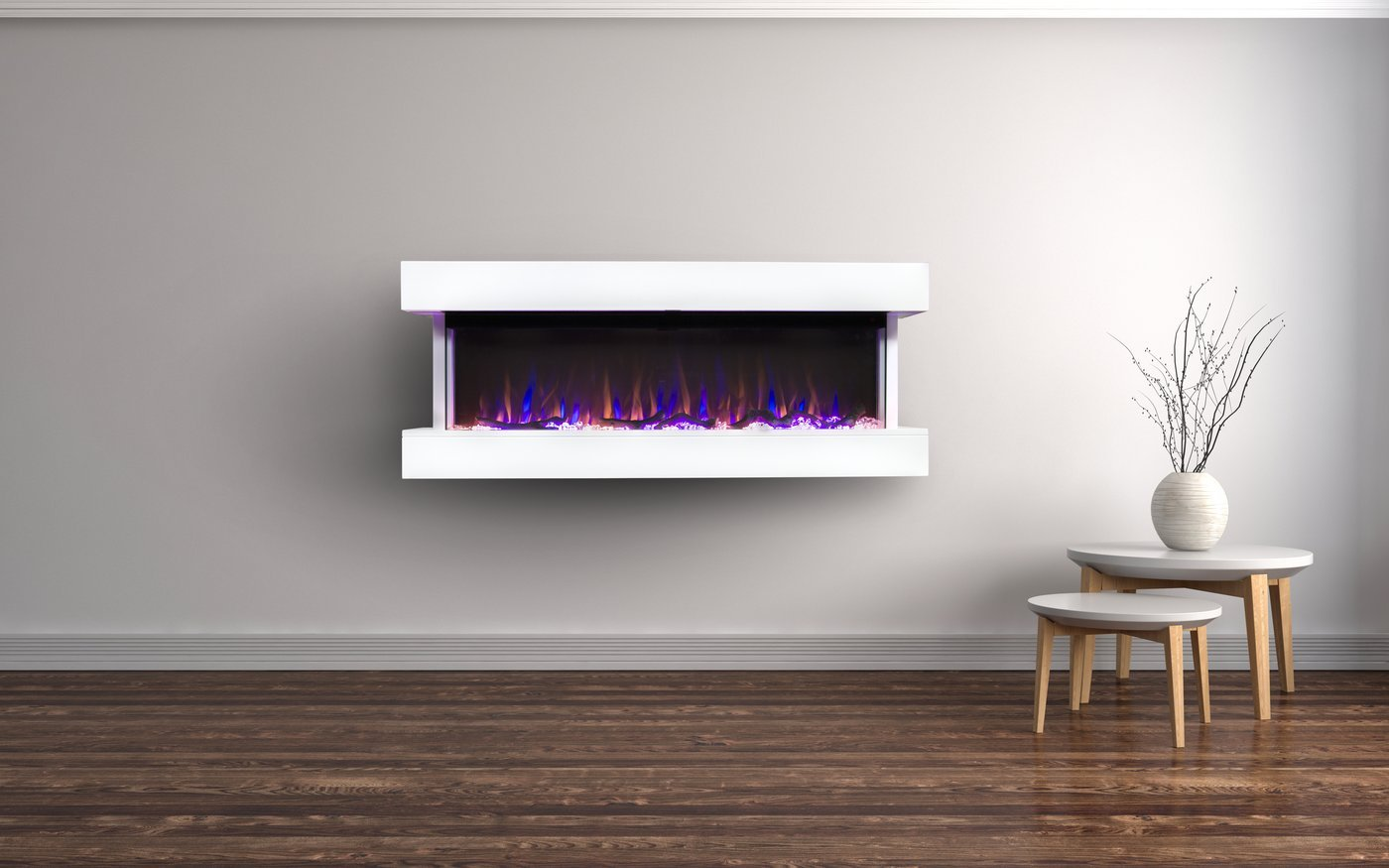 Touchstone Chesmont Wall Mount 50 Inch Electric Fireplace In White