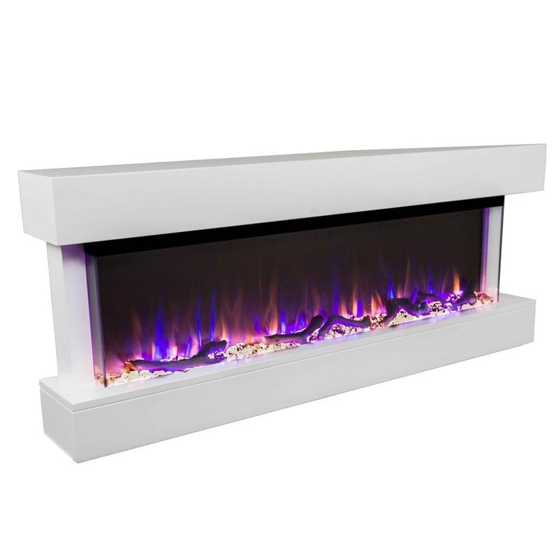 Touchstone Chesmont Wall Mount 50 Inch Electric Fireplace white contemporary angle
